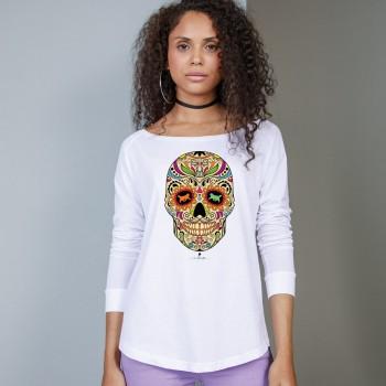 T-Shirt manica lunga da donna, girocollo profondo, con grafica cane Terranova - Newfy la noche de los muertos 2
