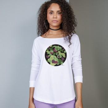 T-Shirt manica lunga da donna, girocollo profondo, con grafica cane Terranova - Newfy Camouflage