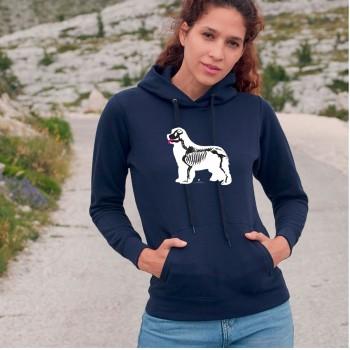 Felpa da donna con cappuccio con grafica cane Terranova - Newfy X Ray