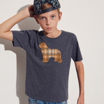 T-shirt bambino con grafica cane Terranova Newfy Tartan
