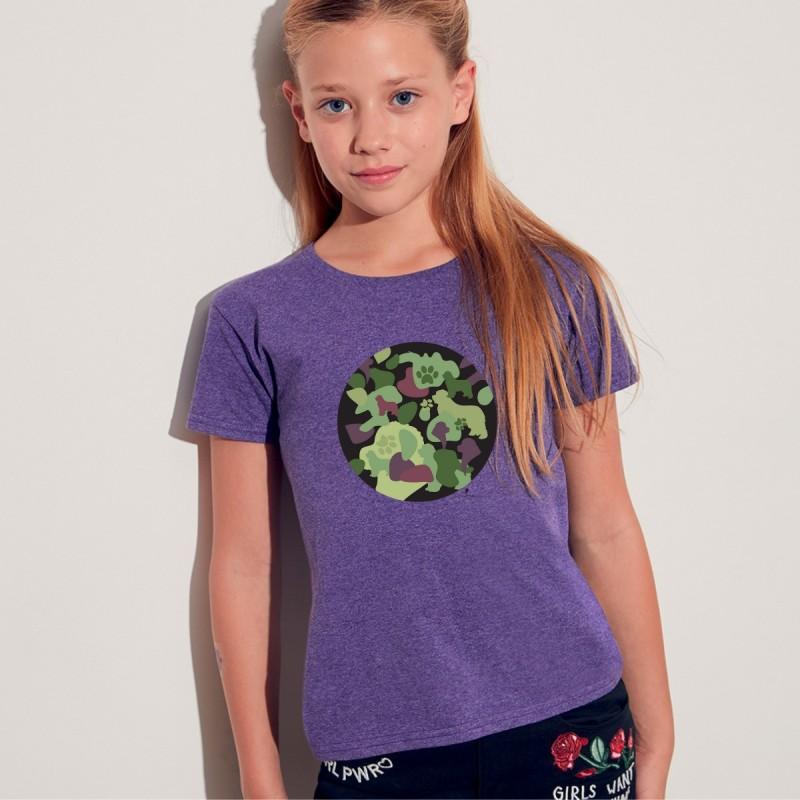 T shirt bimba con grafica cane Terrranova Newfy Camouflage