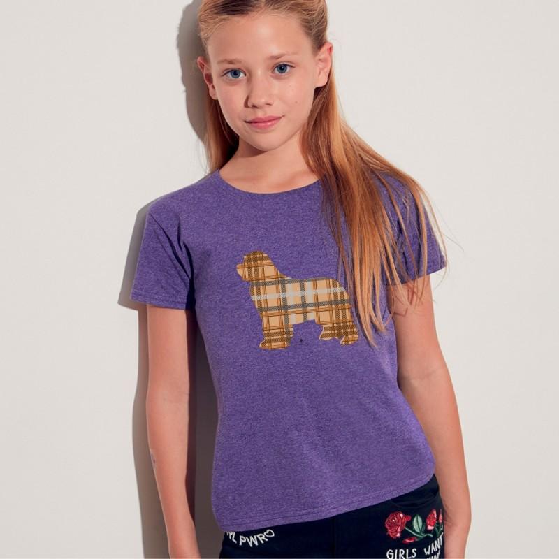 T shirt bimba con grafica cane Terrranova Newfy Tartan