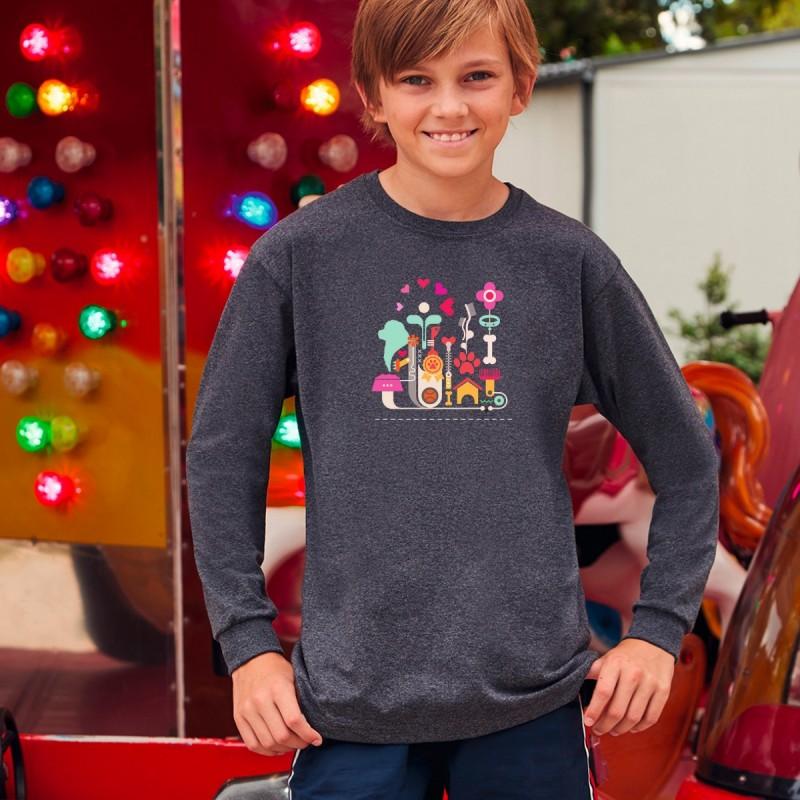T-Shirt a maniche lunghe bambini con grafica Terranova Newfy Passion1