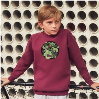 Felpa girocollo bambini con grafica Cane Terranova Newfy Camouflage
