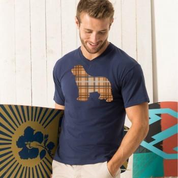 T-shirt scollo a V con grafica Terranova Newfy Tartan
