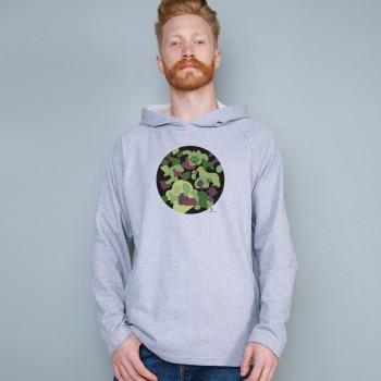 Felpa uomo leggera con cappuccio con grafica cane Terranova Newfy Camouflage