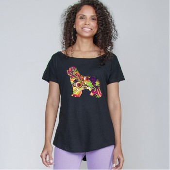 T-Shirt girocollo profondo da donna con grafica cane Terranova - Newfy Vintage
