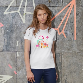 T-Shirt donna con grafica cane Terranova Newfy Passion 1