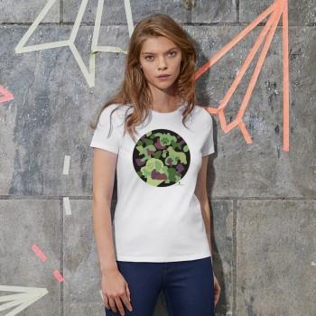 T-Shirt donna con grafica cane Terranova Newfy Camouflage