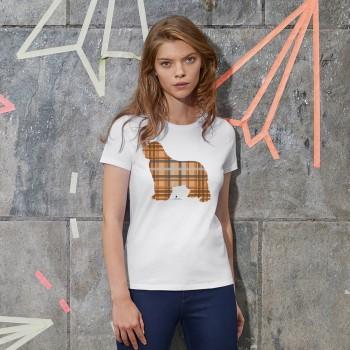 T-Shirt donna con grafica cane Terranova Newfy Tartan
