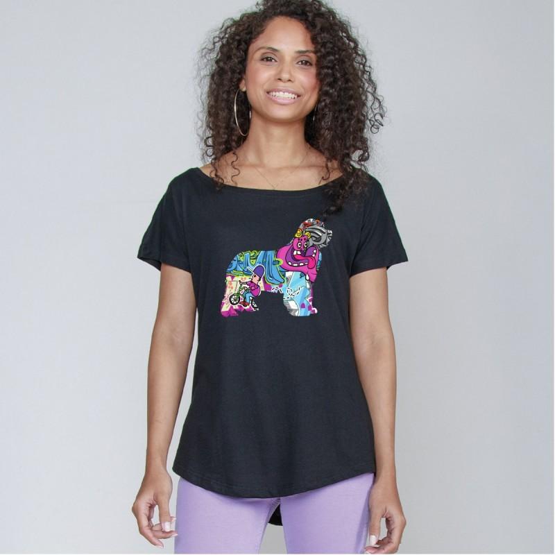 T-Shirt girocollo profondo da donna con grafica cane Terranova - Newfy Cartoon
