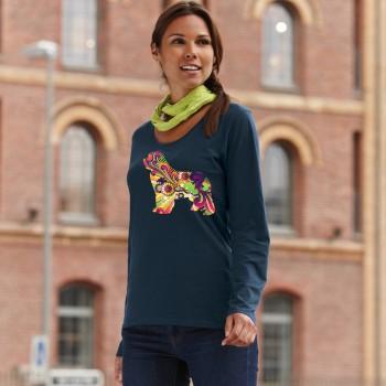 T-Shirt manica lunga da donna con grafica cane Terranova - Newfy Vintage