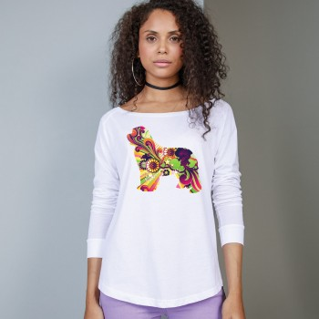 T-Shirt manica lunga da donna,girocollo profondo, con grafica cane Terranova - Newfy Vintage