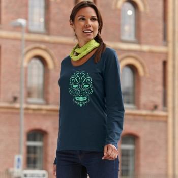 T-Shirt manica lunga da donna con grafica cane Terranova - Newfy la noche de los muertos 1