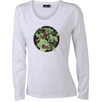 T-Shirt manica lunga da donna con grafica cane Terranova - Newfy Camouflage