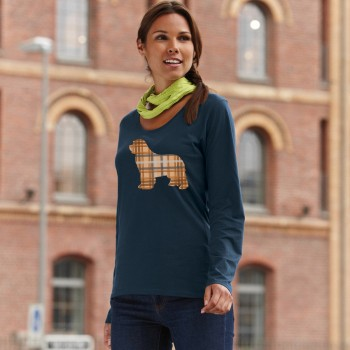 T-Shirt manica lunga da donna con grafica cane Terranova - Newfy Tartan