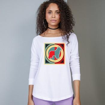 T-Shirt manica lunga da donna, girocollo profondo, con grafica cane Terranova - Newfy Industrial