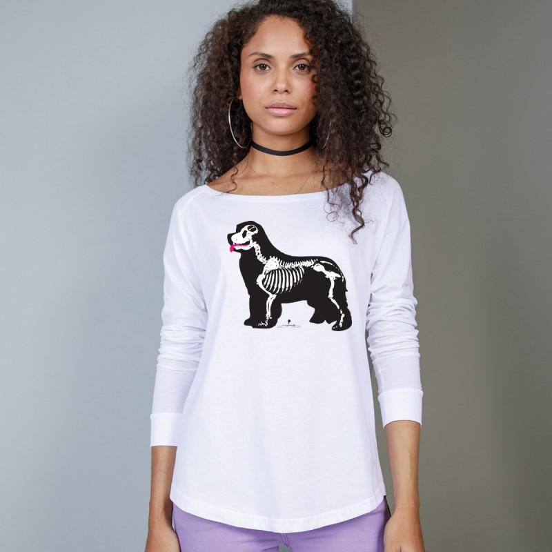 T-Shirt manica lunga da donna, girocollo profondo, con grafica cane Terranova - Newfy X Ray