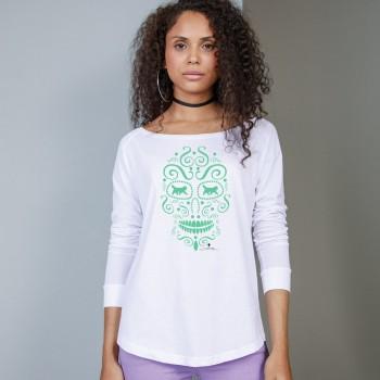 T-Shirt manica lunga da donna, girocollo profondo, con grafica cane Terranova - Newfy la noche de los muertos 1